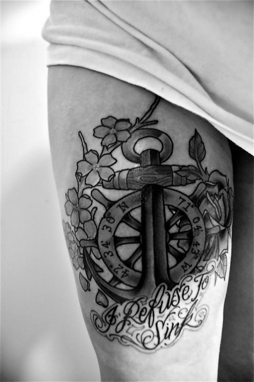 Black And White Anchor Thigh Tattoos