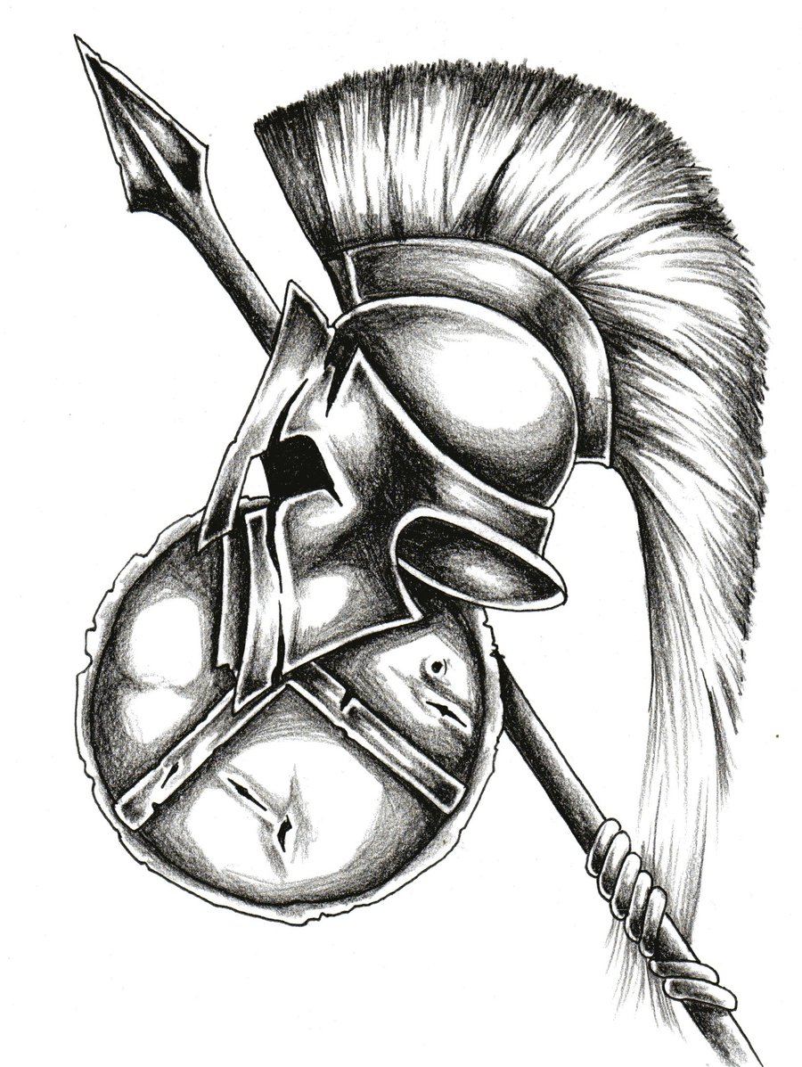 ba598ac33 Other photos to Black And White Ancient Corinthian Or Spartan Helmet Tattoo  Design