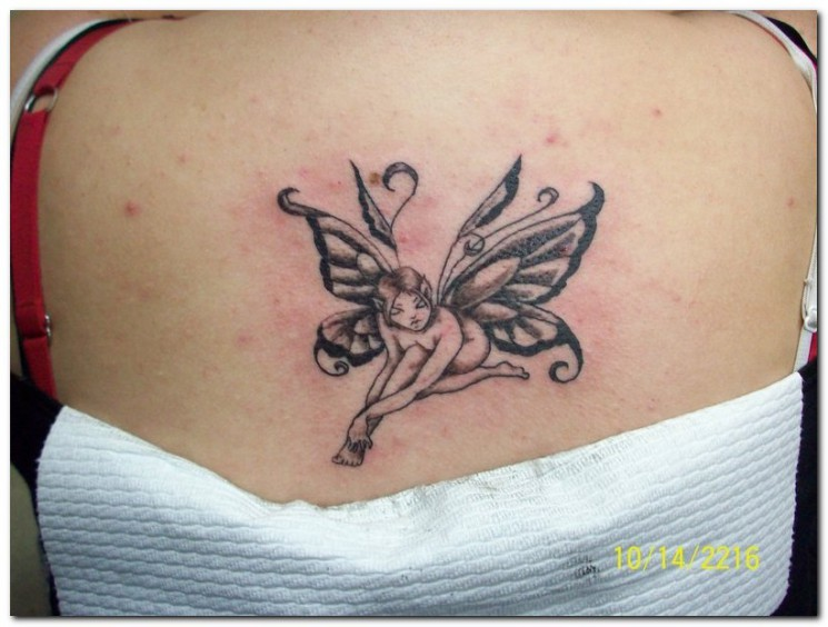 Black And White Fairy Moon Tattoos On Back