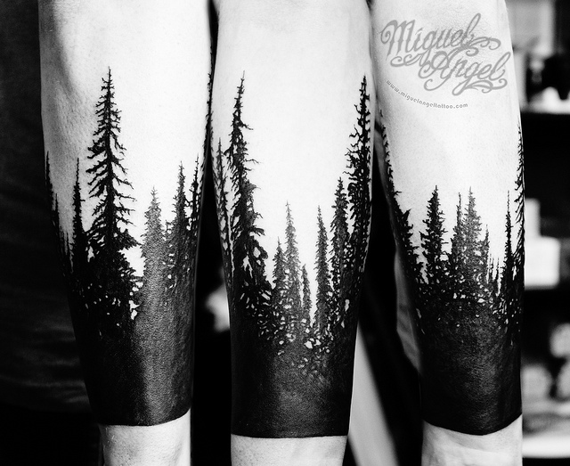 Black And White Forest Tree Tattoos