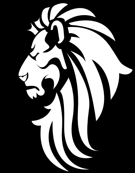 Black And White Lion Head Tattoo Design