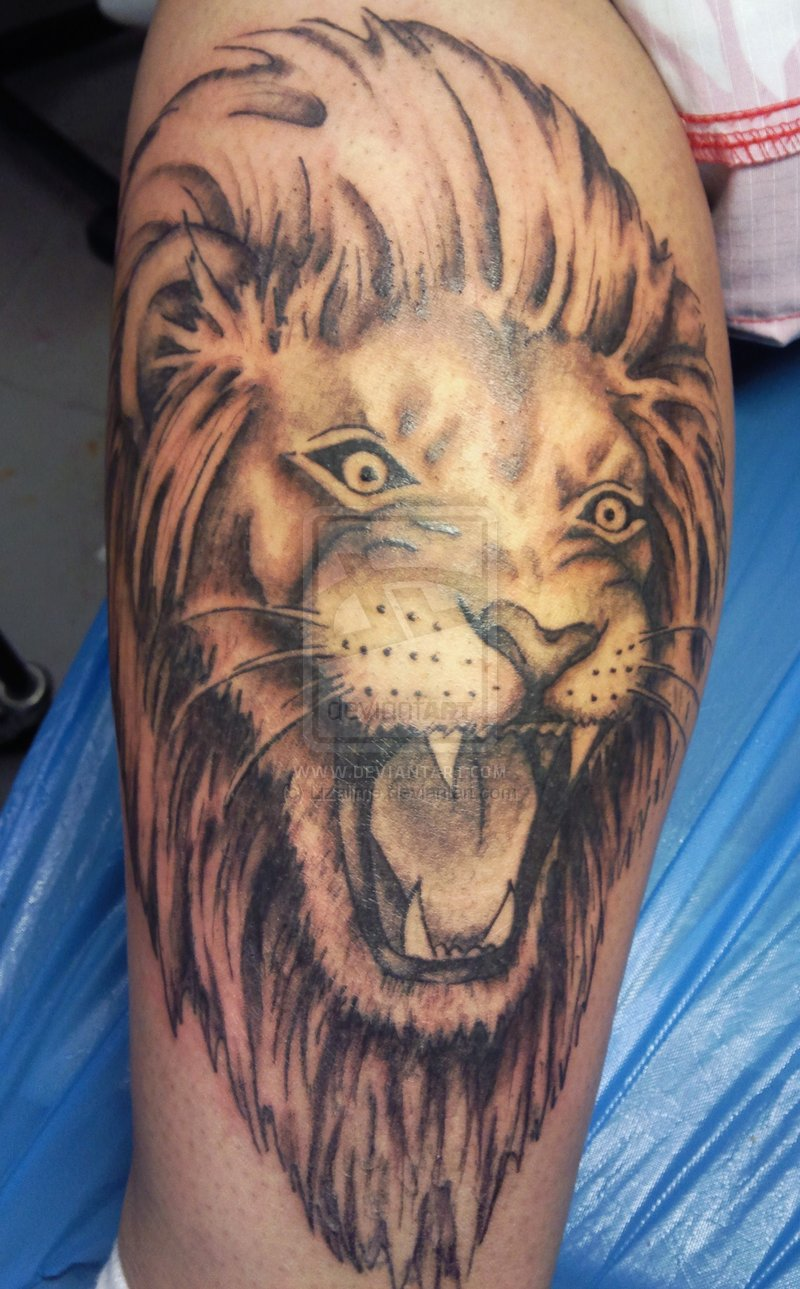 Face tattoos designs and ideas page 7 - Black And White Lion Head Tattoo Design Photo 6
