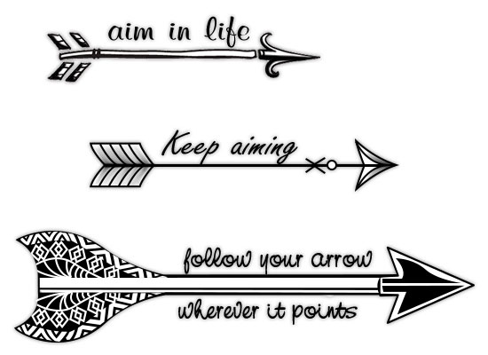 Black And White Old Arrow Tattoos