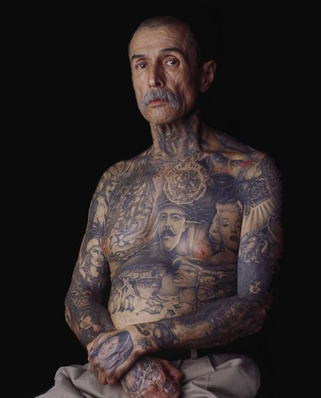Black And White Old Peoples Body Tattoos