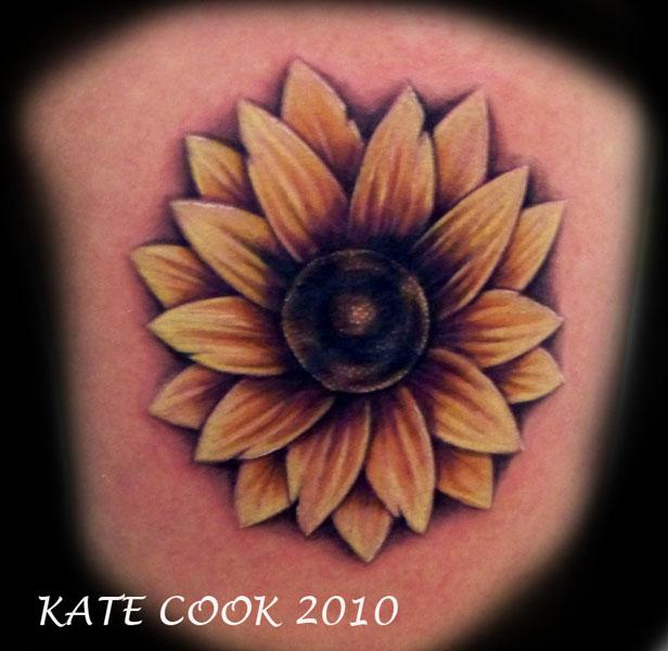 Black And White Sunflower Tattoos On Back Shoulder