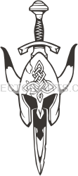 Black And White Viking Helmet Tattoo Clip Art