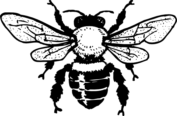 Black Bee Outline Tattoo Design