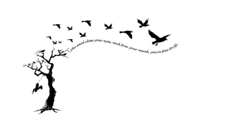 Black Birds And Tree Tattoos For Women