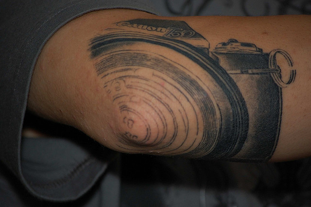 Black Canon Camera Tattoo Design