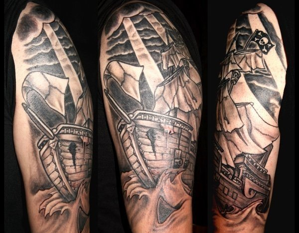 Black Clouds And Ship Half Sleeve Tattoos