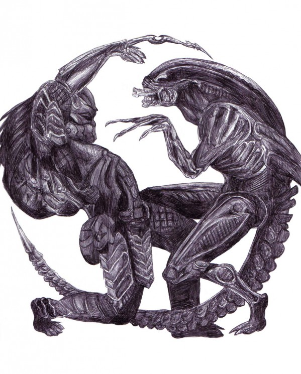 Black Color Alien Vs Predator Tattoo