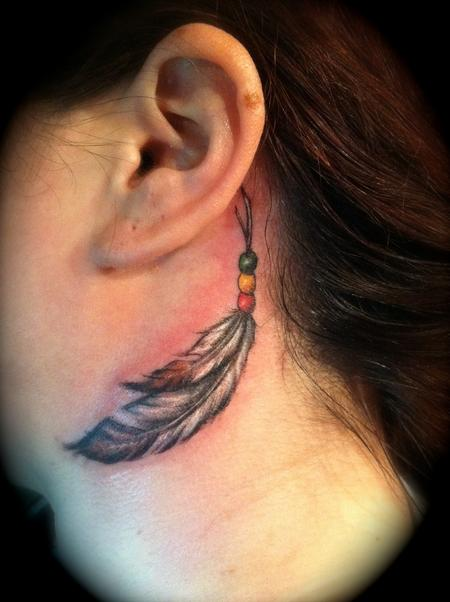 Black Feather Neck Tattoo For Girls