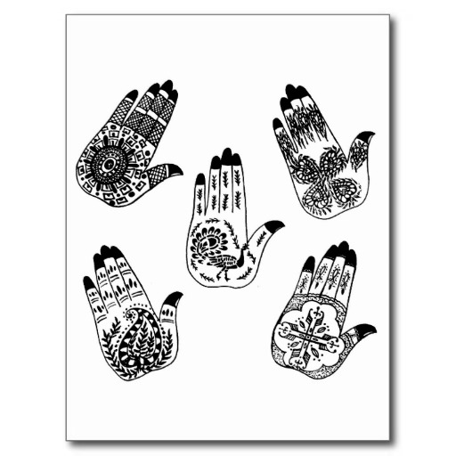 Black Henna Hands Tattoo Post Cards