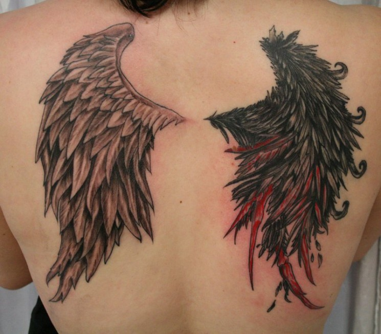 Black Ink Angel Wings Tattoo Design On Back