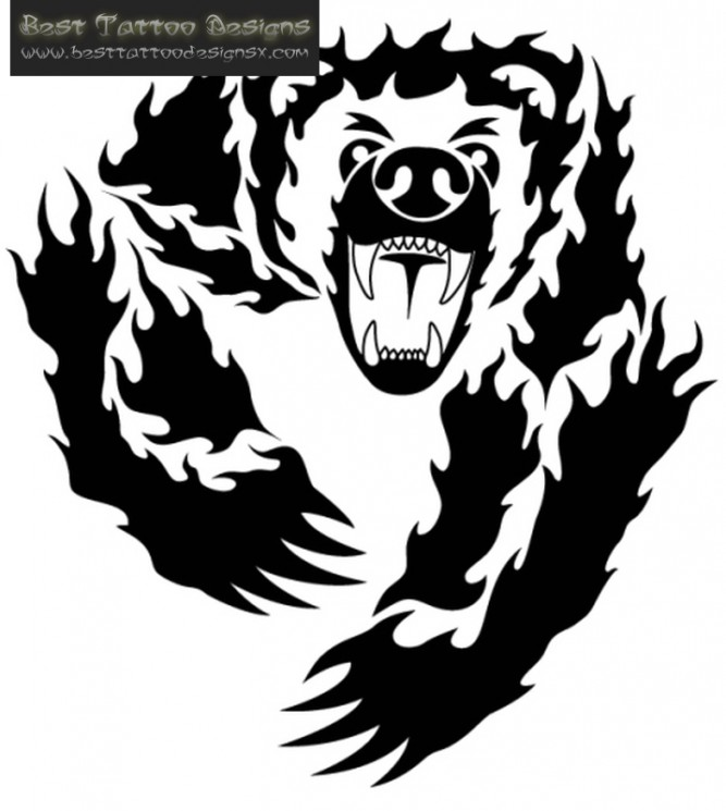 Black Ink Angry Bear Tattoo Design