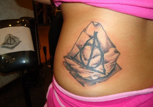 Black Ink Deathly Hallows Triangle Tattoo On Neck
