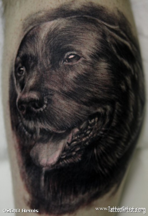 Black Ink Dog Portrait Tattoo