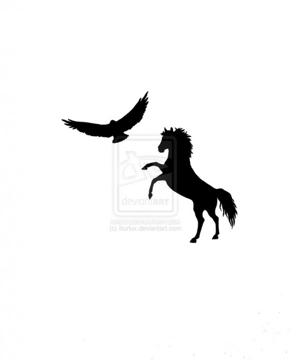 Black Ink Eagle n Horse Tattoo Design