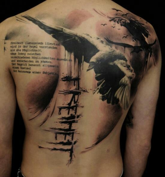 Black Ink Flying Crow Tattoo On Chest