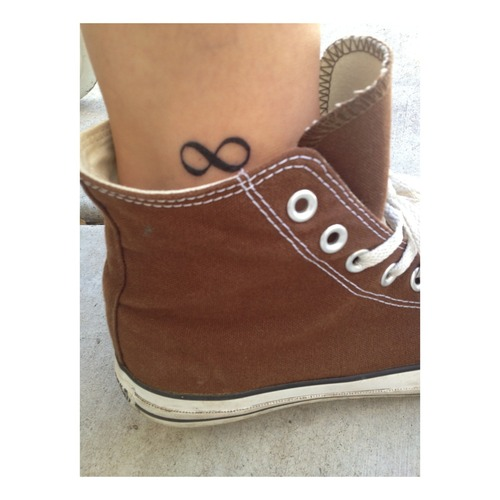 Black Ink Infinity Symbol Tattoo On Ankle