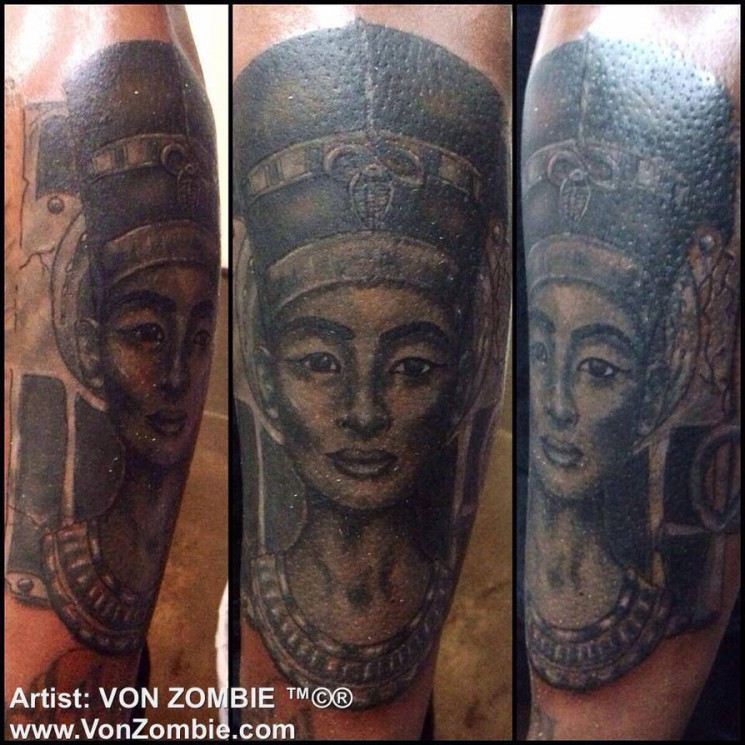 Black Ink King And Nefertiti Queen Tattoos