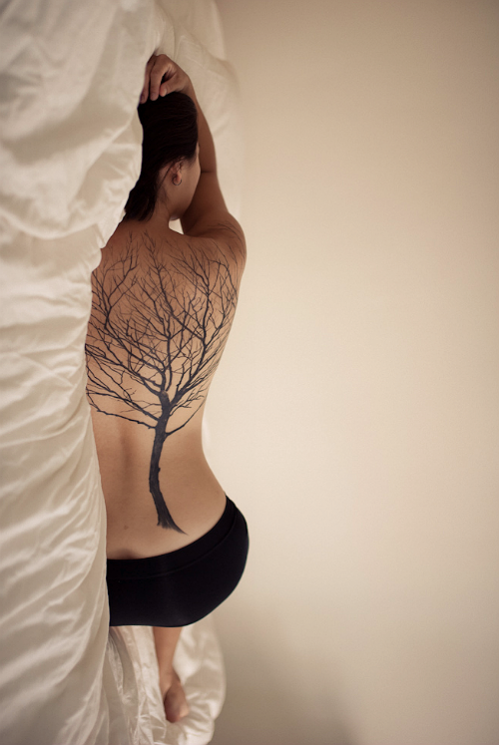 Black Ink Tree Tattoo For Back