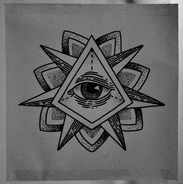 Black Ink Triangle Eye And Axe Tattoos