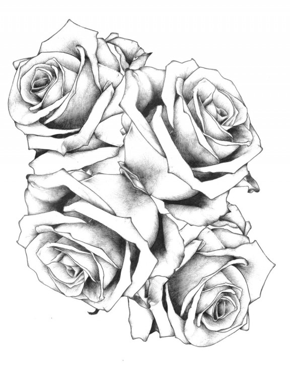Black Ink Tulip Tattoo Design