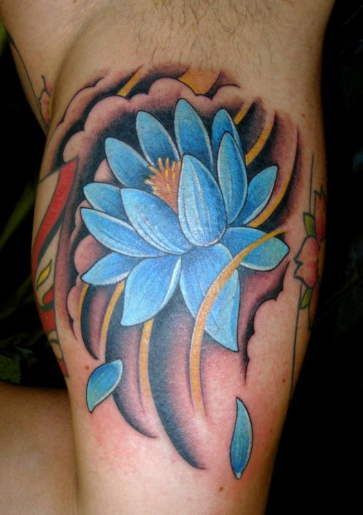 Black Lotus Tattoo On Muscles