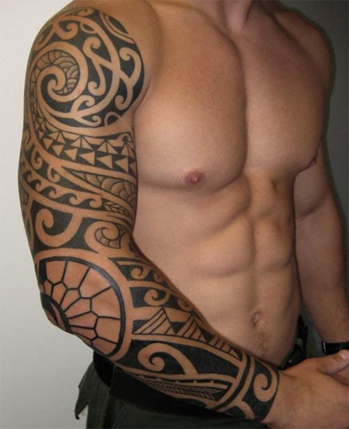 Black Polynesian Tattoos On Forearm