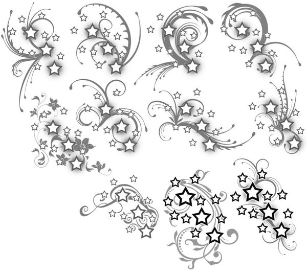 Black Swirls And Nautical Star Tattoo Designs