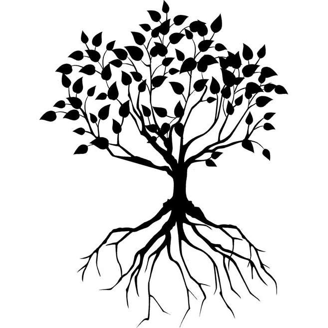 Black Tree With Roots Tattoo Design