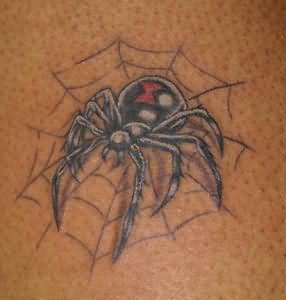 Black Widow Spider And Web Tattoos On Back Neck