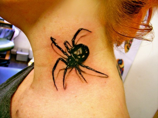 Blackwidow Spider Neck Tattoo