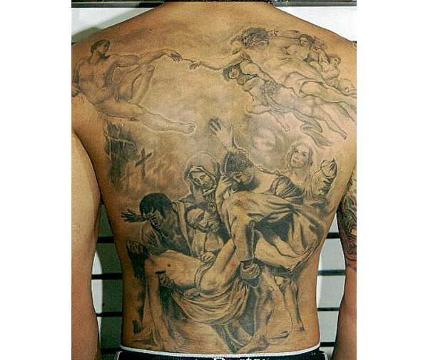 Bleeding Jesus Tattoo On Back
