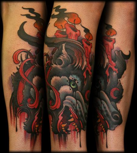 Bleeding Wolf Traditional Sleeve Tattoos