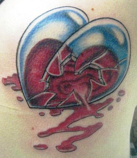 Blood Falling Out From Rose Tattoo Image
