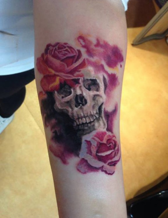 Blood From Skull Rose Tattoo On Forearm
