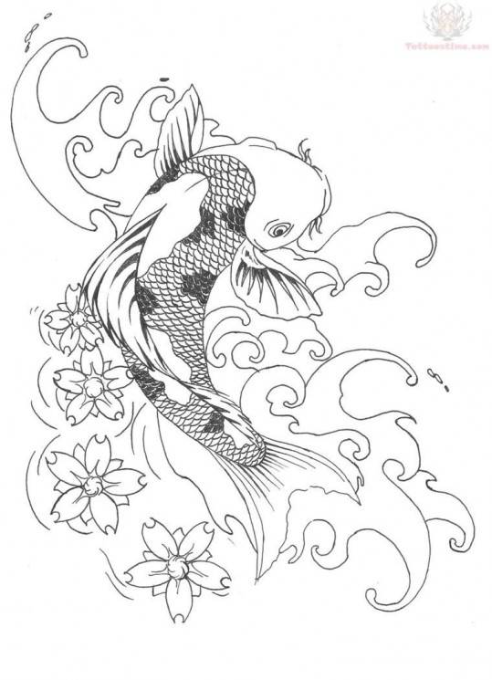 Blossoms And Koi Pisces Tattoo Design
