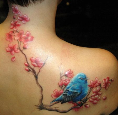 Blossoms Branch Tattoo On Collarbone