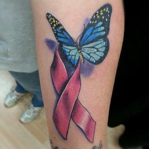 Blue Cancer Ribbon Butterfly Tattoo On Upperback