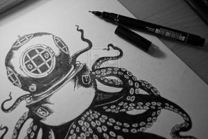 Blue Divers Helmet And Octopus Tattoos