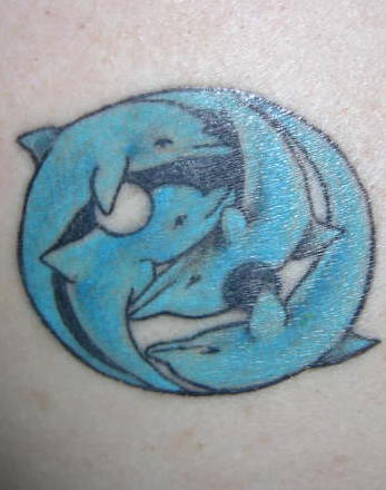 Blue Dolphins Aqua Tattoo