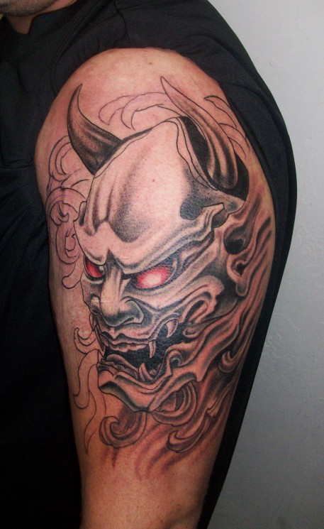 Blue Oni Mask Tattoo Image