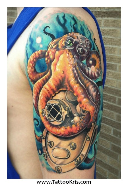 blue ring octopus underwater half sleeve tattoos photo 2 2017 real photo pictures images. Black Bedroom Furniture Sets. Home Design Ideas