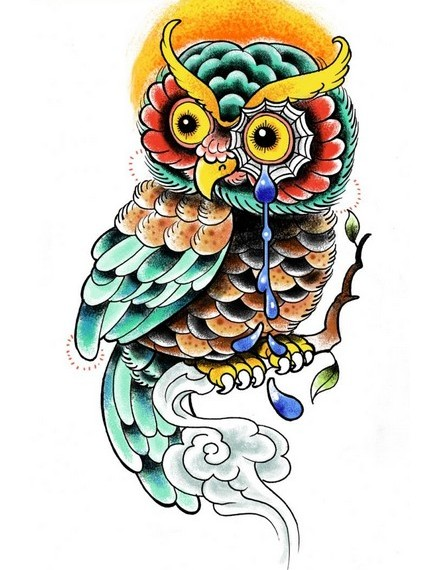 Blue Tears Owl Tattoo Design
