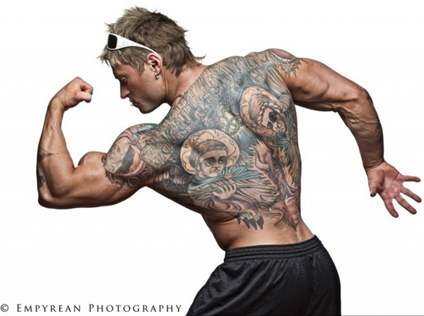 Bodybuilder Deer Tattoo On Muscles