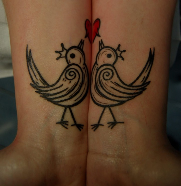 Bourke Birds Couple Tattoos On Wrist