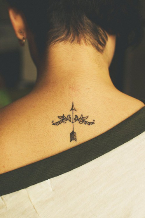 Bow Arrow And Word Tattoos On Foot