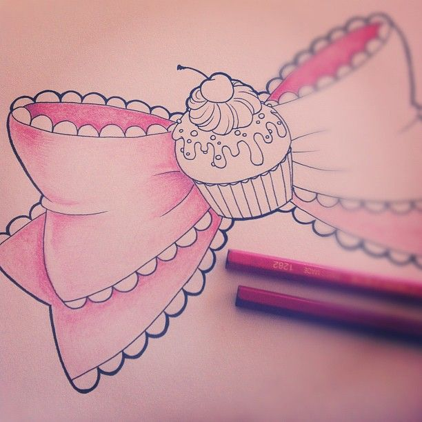 Bow Cup Cake Tattoo